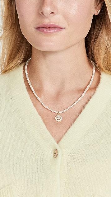 Adina's Jewels Pav Smiley Face Pearl Necklace