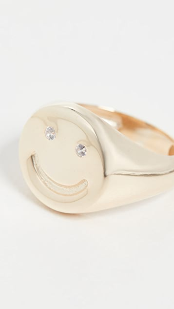 Adina's Jewels Smiley Face Pinky Ring
