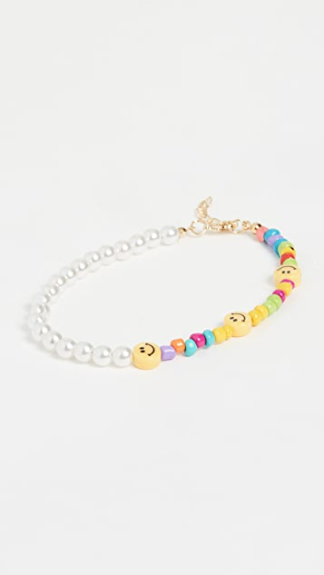 Adina's Jewels Smiley Face X Pearl Anklet