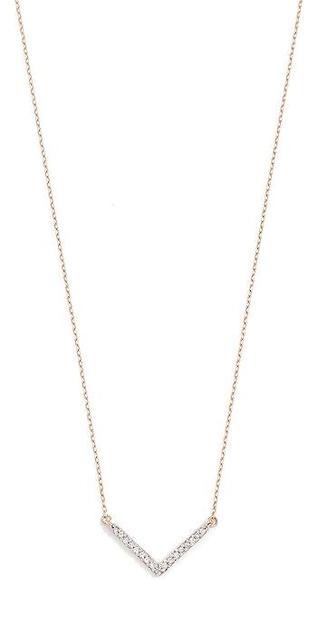 Adina Reyter 14k Gold Tiny Pave V Necklace - Gold