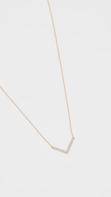 Adina Reyter 14k Gold Tiny Pave V Necklace