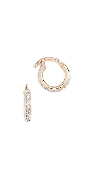 Adina Reyter 14k Gold Pave Huggie Hoop Earrings - Gold/Clear