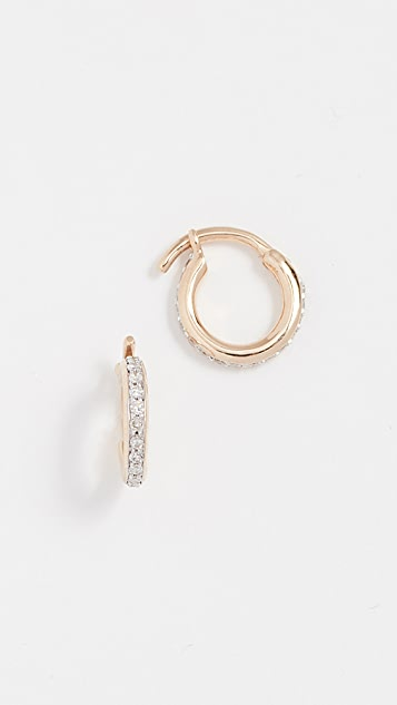 Adina Reyter 14k Gold Pave Huggie Hoop Earrings