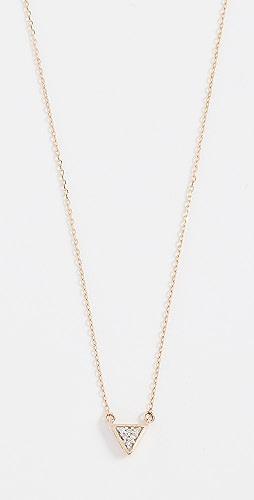 Adina Reyter - 14k Super Tiny Solid Pave Triangle Necklace