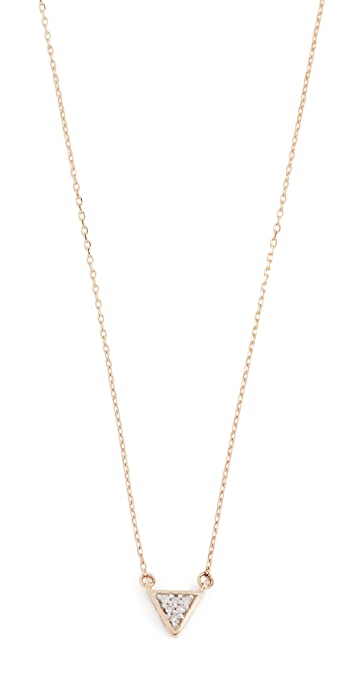 Adina Reyter 14k Super Tiny Solid Pave Triangle Necklace - Gold/Clear