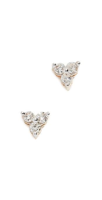 Adina Reyter 14k Gold Diamond Cluster Earrings - Gold/Clear