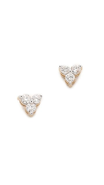 Adina Reyter 14k Gold Diamond Cluster Earrings - Gold/Clear