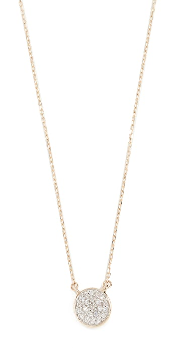 Adina Reyter 14k Gold Solid Pave Disc Necklace - Gold/Clear