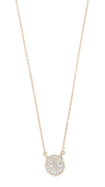 Adina Reyter 14k Gold Solid Pave Disc Necklace