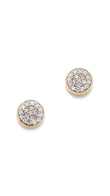 Adina Reyter 14k Gold Solid Pave Disc Earrings