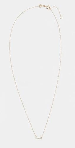 Adina Reyter - 14k Super Tiny Gold Pave Bar Necklace