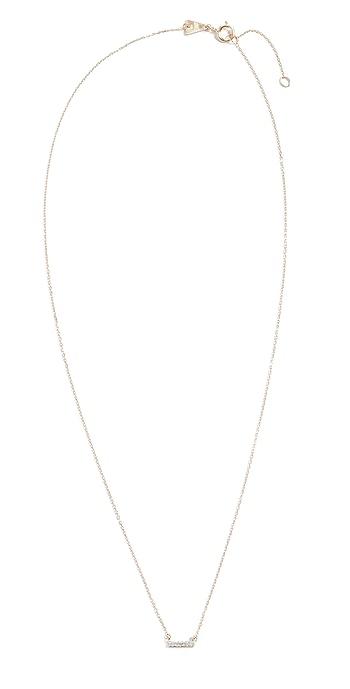 Adina Reyter 14k Super Tiny Gold Pave Bar Necklace - Gold