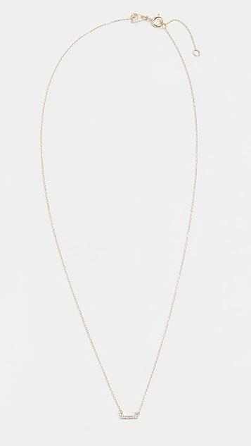 Adina Reyter 14k Super Tiny Gold Pave Bar Necklace