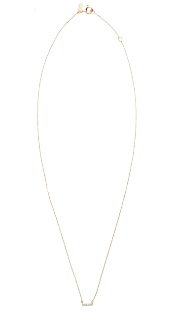 Adina Reyter Super Tiny 14k Gold Pave Bar Necklace