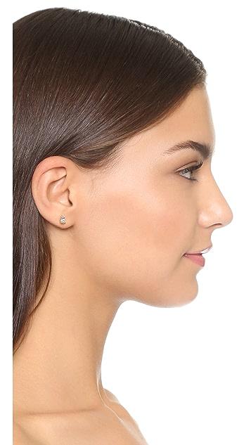 Adina Reyter 14k Gold White Sapphire Stack Earrings
