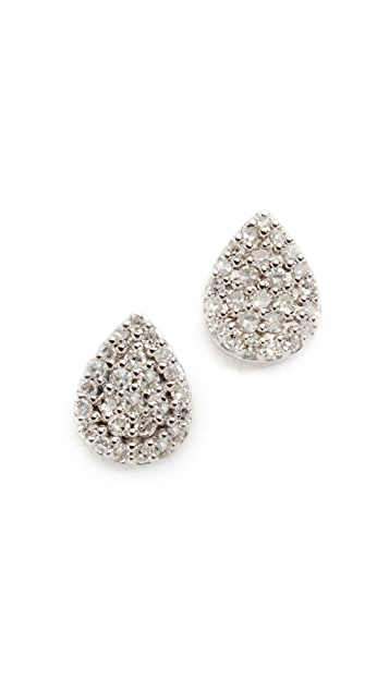 Adina Reyter Solid Pave Teardrop Stud Earrings - Sterling Silver