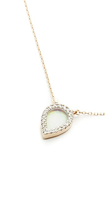 Adina Reyter 14k Gold Small Opal & Diamond Teardrop Pendant Necklace