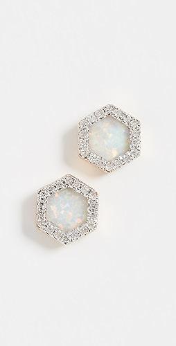 Adina Reyter - 14k Gold Opal & Diamond Hexagon Post Earrings