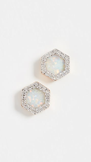 Adina Reyter 14k Gold Opal & Diamond Hexagon Post Earrings