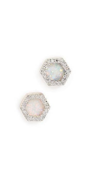 Adina Reyter 14k Gold Opal and Diamond Hexagon Post Earrings - Gold