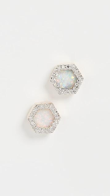 Adina Reyter Восьмиугольные серьги-гвоздики из 14-каратного золота с опалом и бриллиантами