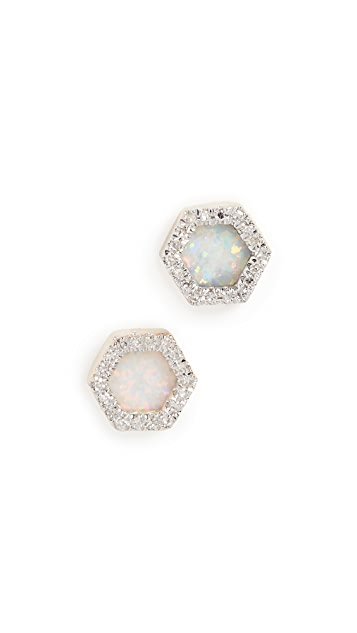 Adina Reyter 14k Gold Opal & Diamond Hexagon Post Earrings
