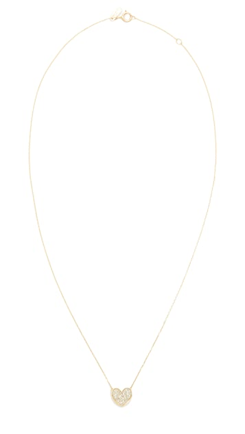 Adina Reyter Pavé Folded Heart Necklace