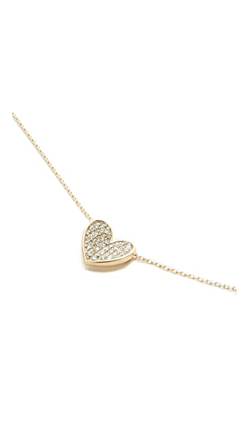 Adina Reyter Super Tiny Pave Folded Heart Necklace ddEKWWEdVA