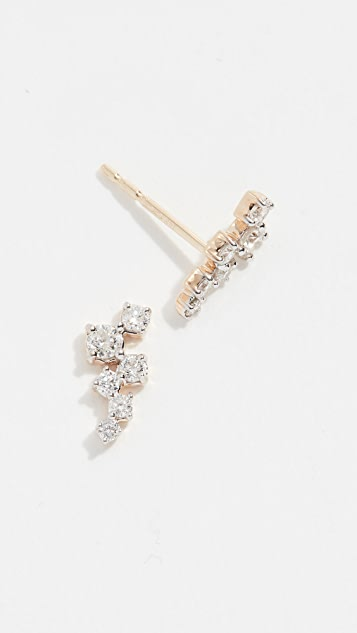 Adina Reyter 14k Gold Scattered Diamond Stud Earrings