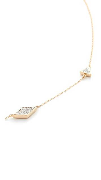 Adina Reyter 14k Gold Pave Triangle Chain Choker Necklace
