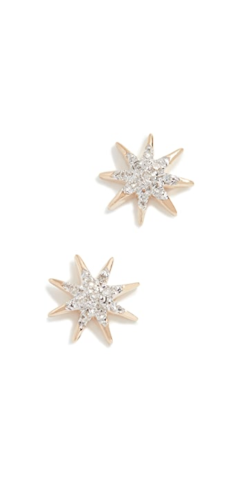 Adina Reyter 14k Gold Solid Pave Starburst Earrings - Gold