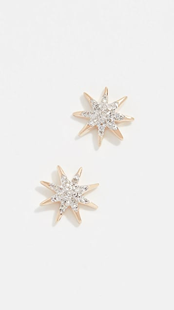 Adina Reyter 14k Gold Solid Pave Starburst Earrings
