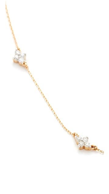 Adina Reyter 14k Gold 5 Cluster Chain Choker Necklace