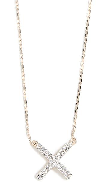 Adina Reyter 14k Gold Pave X Necklace