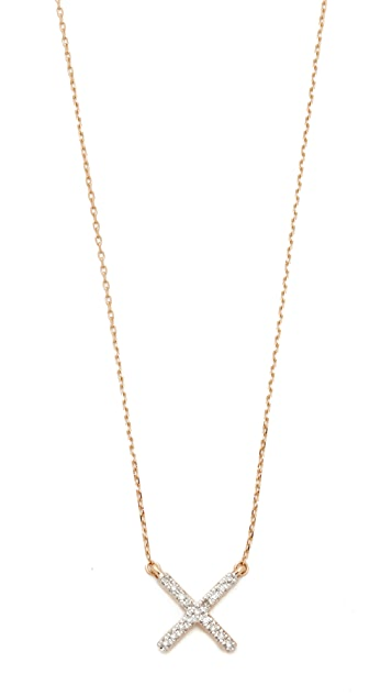 Adina Reyter 14k Gold Pave X Necklace - Gold