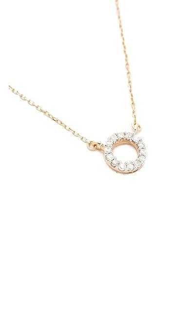 Adina Reyter 14k Gold Super Tiny Pave Circle Necklace