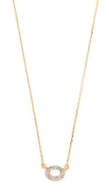 Adina Reyter 14k Gold Super Tiny Pave Oval Necklace