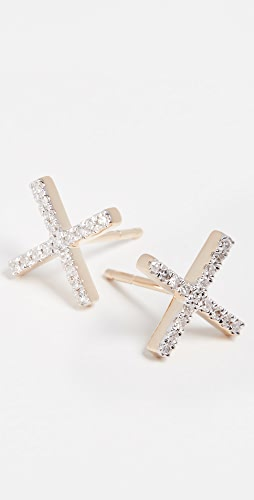 Adina Reyter - 14k Gold Pave X Post Earrings