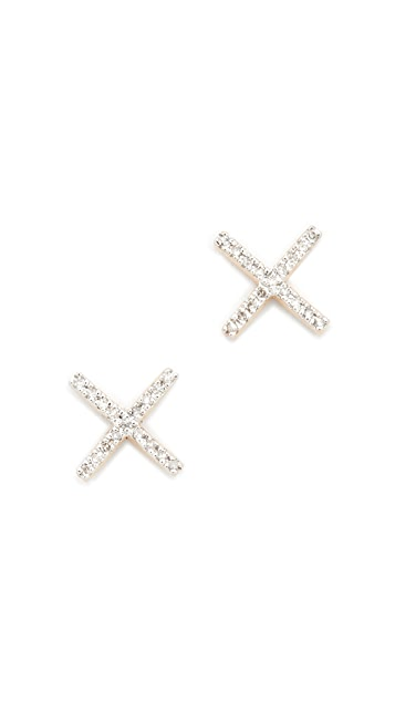 Adina Reyter 14k Gold Pave X Post Earrings - Gold