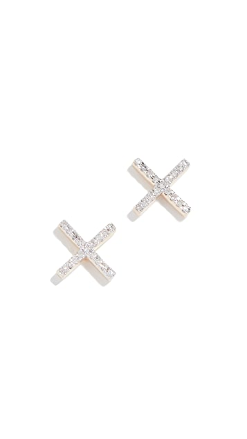 Adina Reyter 14k Gold Pave X Post Earrings