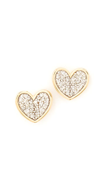 Adina Reyter 14k Gold Folded Heart Post Earrings