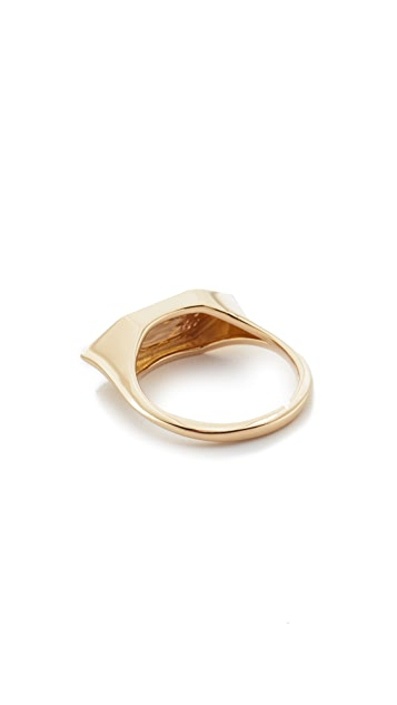 Adina Reyter 14k Gold Stretched Hexagon Signet Ring