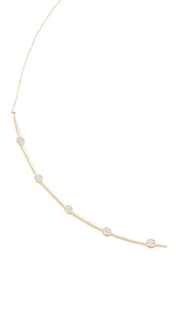 Adina Reyter 14k Gold 5 Diamond Curve Collar Necklace