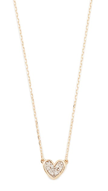 Adina Reyter Super Tiny Pave Folded Heart Necklace - Gold