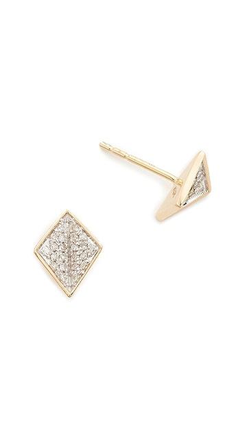Adina Reyter 14k Gold Tiny Pave Folded Diamond Post Earrings