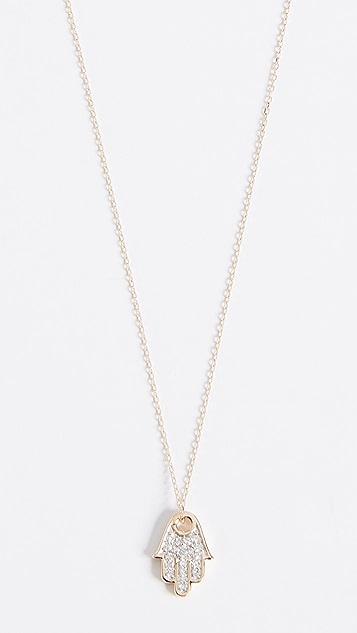 Adina Reyter 14k Gold Solid Pave Hamsa Necklace