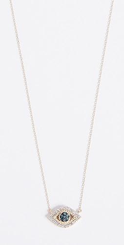 Adina Reyter - 14k Gold Tiny Pave Evil Eye Necklace