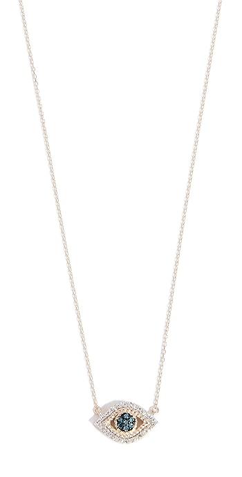 Adina Reyter 14k Gold Tiny Pave Evil Eye Necklace - Yellow Gold