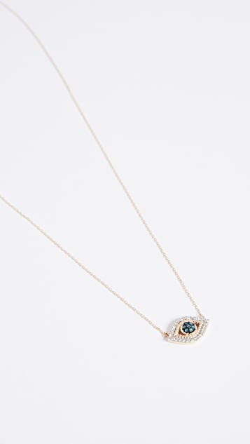 Adina Reyter 14k Gold Tiny Pave Evil Eye Necklace