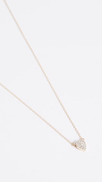 Adina Reyter 14k Gold Super Tiny Solid Pave Teardrop Necklace